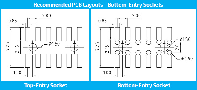 Bottom Entry Recommended PCB Layouts. Board to board connectors.