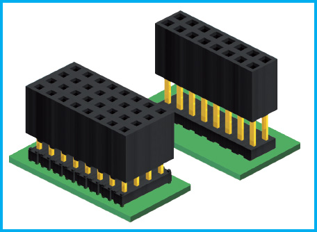 GradConn board to board connectors - thru hole stacking sockets